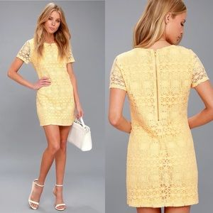 Lulu's Love You For Eternity Yellow Lace Dress